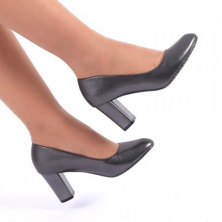 Pantofi cu toc cod CA82 Gri Închis - Pantofi cu vârf rotund şi toc gros din piele ecologică, foarte confortabili cu un calapod comod - Deppo.ro