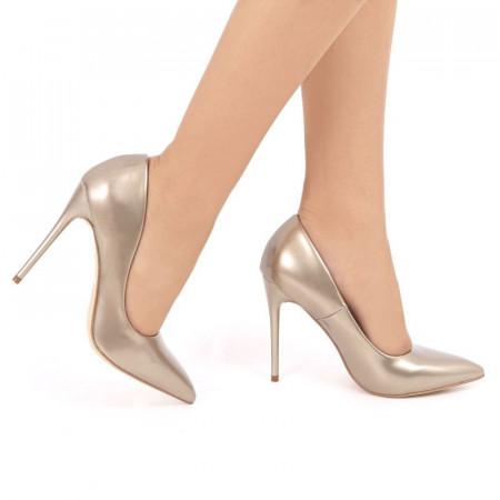 Pantofi cu toc cod EK0015 Auri - Pantofi aurii din piele ecologică de înaltă calitate cu tocul subţire de 11 cm şi vârf ascuţit - Deppo.ro