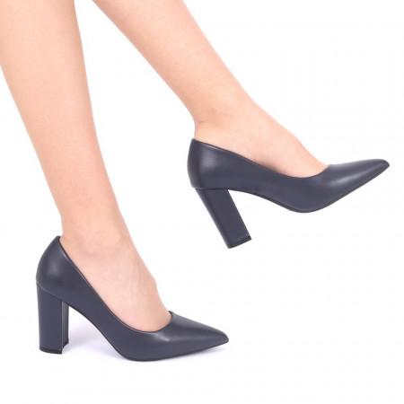 Pantofi Cu Toc Raisa Navi - Pantofi din piele ecologică, cu vârf ascuţit şi toc subţire, foarte confortabili cu un calapod comod - Deppo.ro