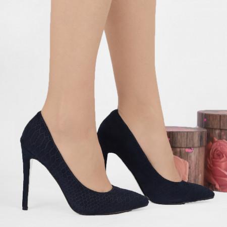 Pantofi cu tog cod 12165A Navy - Pantofi cu toc din piele ecologică întoarsă cu un design unic. Fii în pas cu moda şi străluceşte la următoarea petrecere. - Deppo.ro