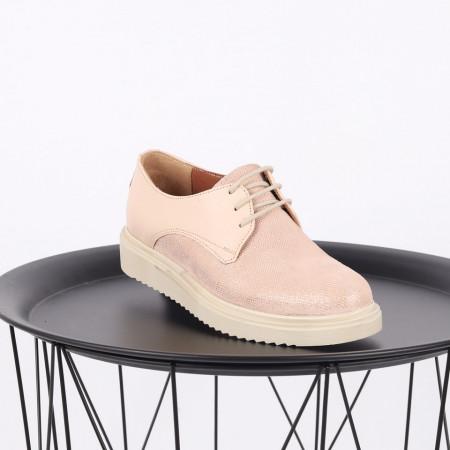 Pantofi din piele naturală bej Cod 483 - Pantofi damă din piele naturală, foarte confortabili cu un tălpic special care conferă lejeritate chiar și în cazurile în care petreci mult timp stând în picioare. - Deppo.ro