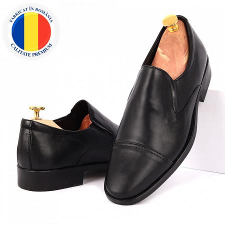 Pantofi din piele naturală Benen Negri - Pantofi din piele naturală pentru bărbați, model simplu, finisaje îngrijite cu undesign deosebit - Deppo.ro