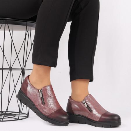 Pantofi din piele naturală bordo Cod 405 - Pantofi damă din piele naturală, foarte confortabili cu un tălpic special care conferă lejeritate chiar și în cazurile în care petreci mult timp stând în picioare. - Deppo.ro