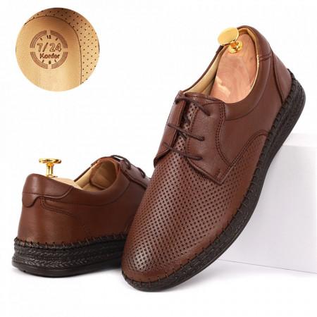 Pantofi din piele naturală cod 85021 Maro - Pantofi din piele naturală pentru bărbați, model simplu, finisaje îngrijite cu undesign deosebit și branț confortabil din gel - Deppo.ro