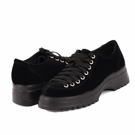 Pantofi pentru dame cod 1466D2 Negri - Pantofi pentru dame, din piele ecologica întoarsă cu închidere prin șiret - Deppo.ro