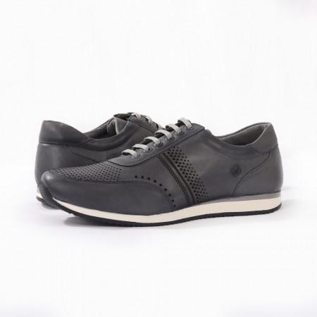 Pantofi Sport din piele naturală pentru bărbați cod 129 Gri - Pantofi sport pentru bărbaţi din piele naturală, model simplu, finisaje îngrijite cu un design deosebit ideali pentru o ținută sport casual - Deppo.ro
