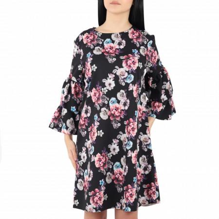 Rochie Florală Alani Neagră - Rochie neagră cu imprimeuri florale cu măneca tip clopot ,potrivită pentru orice ocazie - Deppo.ro