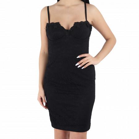 Rochie Georgi Black - Rochie elegantă cu material dantelat, pune-ți silueta în evidență și atrage toate privirile - Deppo.ro