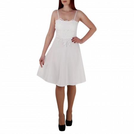 Rochie Nicole Albă - Rochie de culaore albă, scurtă lejeră şi elegantă,cu dantelă pe zona bustului, simte-te atrăgătoare purtând această rochie și atrage toate privirile la urmatoarea petrecere. - Deppo.ro