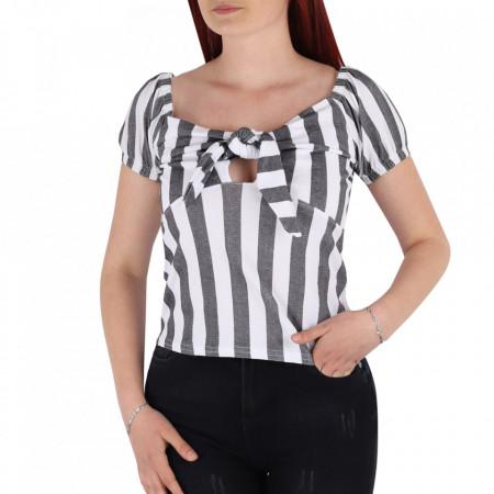 Tricou pentru dame cod TR22 Blue - Tricou pentru dame  Model decorativ cu fundă - Deppo.ro