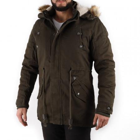 Geacă de iarnă Aron - Geacă lungă stilată de iarnă pentru bărbaţi prevăzută cu glugă, în partea din faţă jacheta este prevăzută cu şnur şi fermoar rezistent, aceleaşi tipuri de fermoare sunt aplicate şi la baza buzunarelor laterale. - Deppo.ro