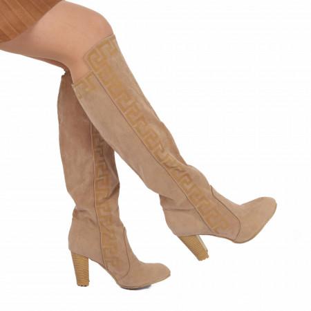 Cizme Joelin Beige - Cizme lungi cu toc elegante - Deppo.ro