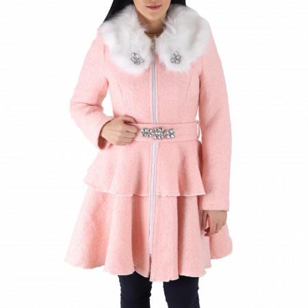 Palton Olis Pink - Palton Chanttal elegant de lungime medie cu guler din blăniţă spectaculos, închidere cu fermoar. Îmbracă-l la rochii sau ținute office. - Deppo.ro