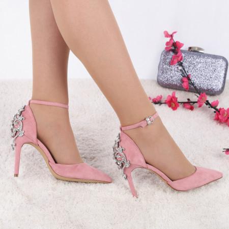 Pantofi cu toc cod 43113 Roz - Pantofi decupați tip sanda din piele ecologică  Model deosebit de frumos în partea din spate a tocului  Închidere prin baretă  Calapod comod - Deppo.ro
