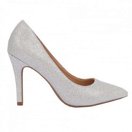 Pantofi cu toc cod A55053 Arginti - Pantofi cu toc ascuțit din piele ecologică cu un design unic, fii in pas cu moda si străluceste la urmatoarea petrecere. - Deppo.ro