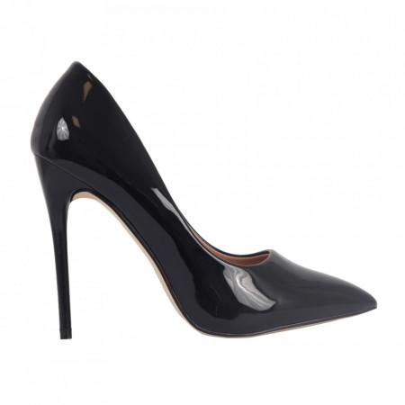 Pantofi cu toc cod EK0097 Negri - Pantofi din piele ecologică, cu vârf ascuţit şi toc subţire, foarte confortabili cu un calapod comod - Deppo.ro