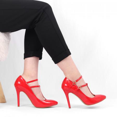 Pantofi cu toc pentru dame cod V402 Roşii - Pantofi cu toc pentru dame din piele ecologică Închidere prin baretă Conferă lejeritate și eleganță - Deppo.ro