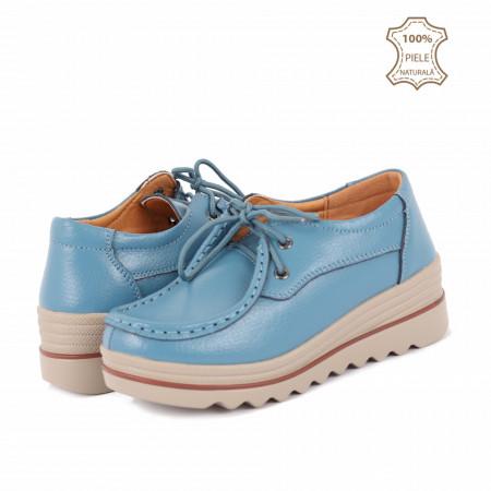 Pantofi din piele naturală cod 3089 Albaștri - Pantofi pentru dame din piele naturală cu talpă groasă flexibilă și închidere prin șiret - Deppo.ro