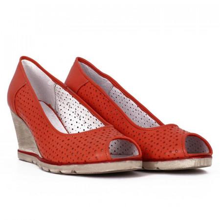 Pantofi din piele naturală cod 55672 Portocali - Pantofi din piele naturală perforată cu platformă și vârf decupat, confortul purtării este sporit de tălpicul din piele ecologică - Deppo.ro