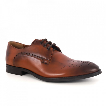 Pantofi din piele naturală pentru bărbați cod 2828 Maro - Pantofi pentru bărbați, foarte comozi. - Deppo.ro
