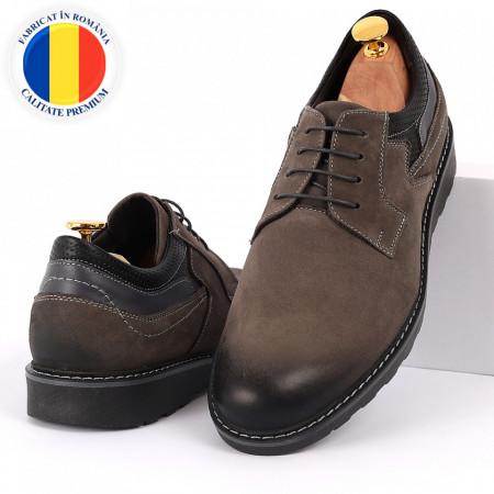 Pantofi din piele naturală pentru bărbați cod 350 Gri - Pantofi din piele naturală, model simplu, finisaje îngrijite cu undesign deosebit - Deppo.ro