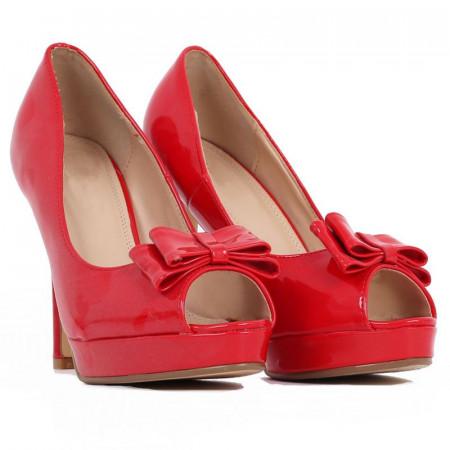 Pantofi Kailee Red - Pantofi cu toc înalt și platformă, din piele ecologică lăcuită de înalta calitate - Deppo.ro