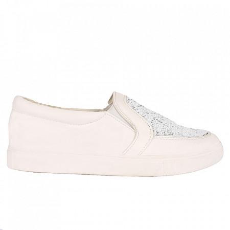 Pantofi Sport pentru dame cod RW705 White - Pantofi sport din piele ecologică pentru dame Model cu paiete - Deppo.ro