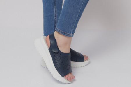 Sandale pentru dame din piele naturală cod PL2014 Navy - Sandale pentru dama din piele naturală  Închidere prin baretă  Calapod comod - Deppo.ro