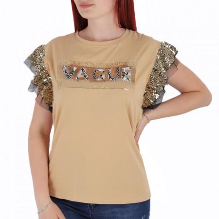 Tricou pentru dame cod F202 Beige - Tricou pentru dame  Model decorativ cu paiete  Conferă lejeritate și o ținută casual - Deppo.ro