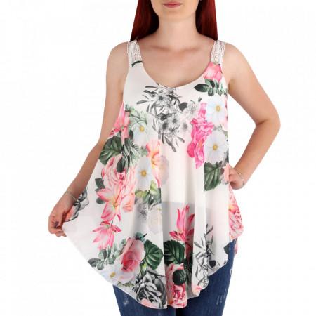 Bluză pentru dame cod 5781 White - Bluză pentru dame Model decorativ floral - Deppo.ro