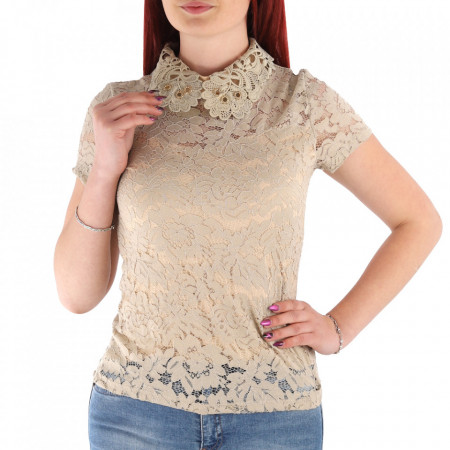 Bluză pentru dame cod DNNT Bej - Bluză pentru dame Închidere prin nasture - Deppo.ro
