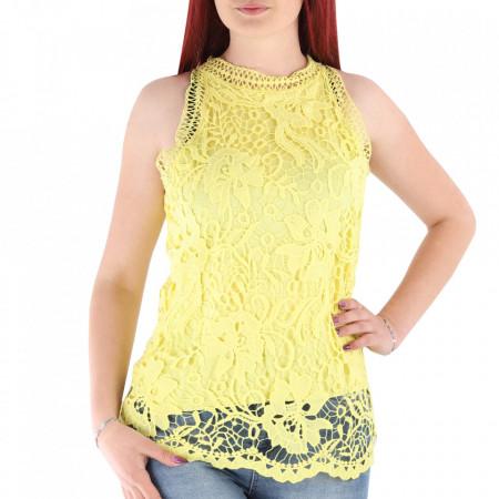 Bluză pentru dame cod DNT89 Galbenă - Bluză pentru dame Închidere prin nasture - Deppo.ro