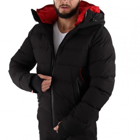 Geacă de iarnă Ronan Neagră - În partea din faţă jacheta este prevăzută cu un fermoar lung din plastic rezistent, aceleaşi tipuri de fermoare, sunt aplicate şi la baza buzunarelor laterale. - Deppo.ro