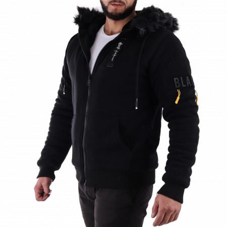 Geacă Scott Black - Geacă scurtă sport de iarnă pentru bărbaţi, prevăzută cu glugă, în partea din faţă jacheta este prevăzută cu un fermoar lung şi rezistent - Deppo.ro
