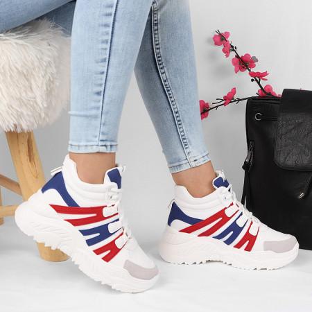 Pantofi cod HMM15 Albi - Pantofi din piele ecologică cu închidere prin șiret - Deppo.ro