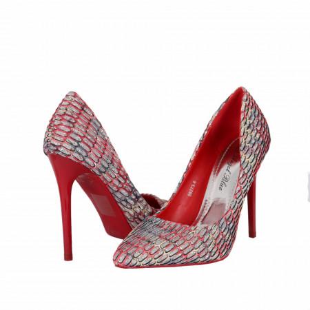 Pantofi Cu Toc Abie Red - Pantofi roşii cu vârf ascuţit şi toc subţire din piele ecologică, foarte confortabili cu un calapod comod - Deppo.ro