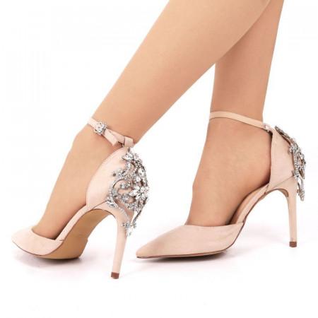 Pantofi cu toc cod AN443 Bej - Pantofi din piele ecologică de înaltă calitate cu tocul subţire de 10 cm şi vârf ascuţit - Deppo.ro