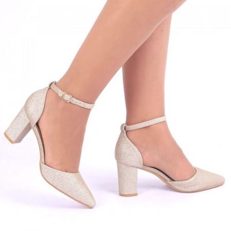 Pantofi cu toc cod G1250 Auri - Pantofi din piele ecologica cu toc pătrat şi vârf ascuţit - Deppo.ro