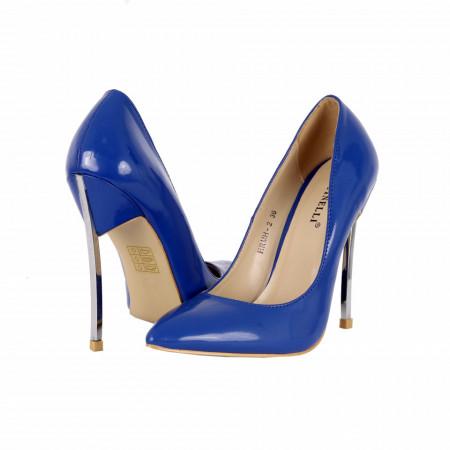 Pantofi cu toc cod HRMH2 Albaștri - Pantofi cu vârf ascuţit şi toc subţire din piele ecologică, foarte confortabili cu un calapod comod - Deppo.ro