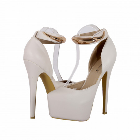 Pantofi cu toc cod JF780 Albi - Pantofi cu toc și platformă foarte înalte pentru dame care vă pot completa o ținută fresh în acest sezon. Incalțî-te cu această pereche de pantofi la modă și asorteaz-o cu pantalonii sau fusta preferată pentru a creea o ținută deosebită. - Deppo.ro