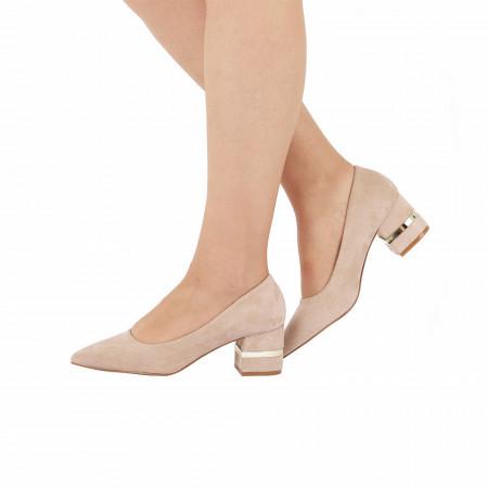 Pantofi Cu Toc Joanna Beige - Pantofi cu toc gros din piele ecologică întoarsă cu un design unic . Fi in pas cu moda si străluceste la urmatoarea petrecere. - Deppo.ro