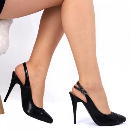 Pantofi cu toc negri Cod 00914 - Pantofi pentru dame din piele ecologică cu toc subţire  Conferă lejeritate și eleganță  Închidere prin baretă - Deppo.ro