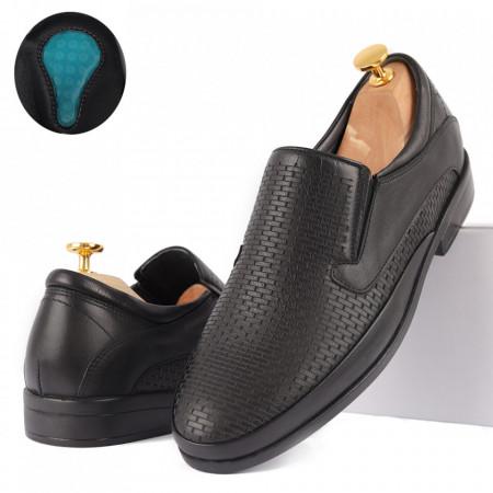 Pantofi din piele naturală cod 4336 Negri - Pantofi din piele naturală pentru bărbați Model simplu, finisaje îngrijite , talpă din gel Conferă lejeritatea și eleganța de care ai nevoie - Deppo.ro