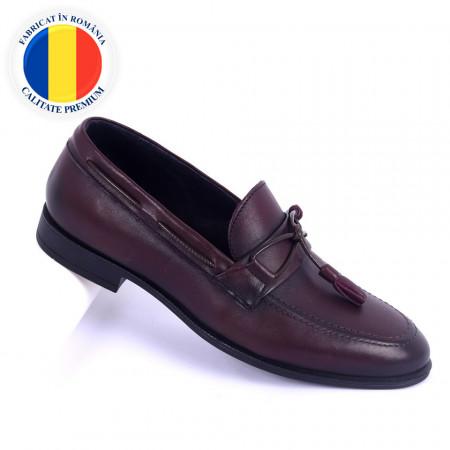Pantofi din piele naturală cod 941 Bordo - Pantofi din piele naturală interior-exterior ideali la ținute casual sau elegante cu un calapod comod - Deppo.ro