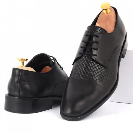 Pantofi din piele naturală cod KING-B2 Negri - Pantofi din piele naturală, model simplu, finisaje îngrijite cu undesign deosebit - Deppo.ro