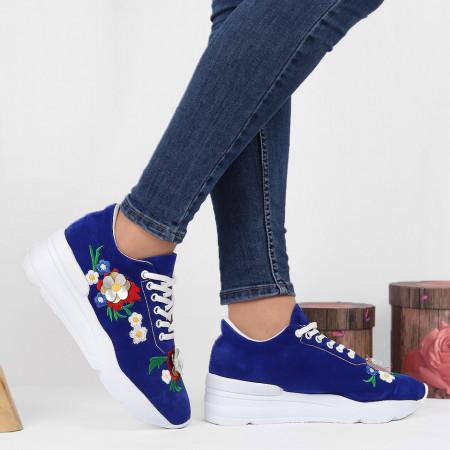 Pantofi Sport Cod 648 - Pantofi sport din piele ecologică întoarsă cu platformă  Închidere prin șiret  Model înflorat deosebit de frumos  Foarte comfortabili - Deppo.ro
