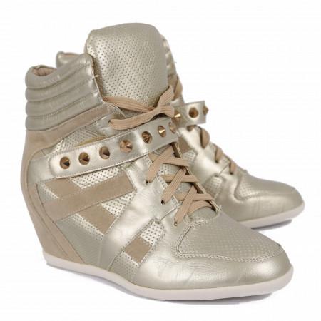 Pantofi sport tip sneakers damă cod YLG5579 gold - Pantofi sport tip sneakers din piele ecologică cu talpă cu platformă si un calapod comod - Deppo.ro