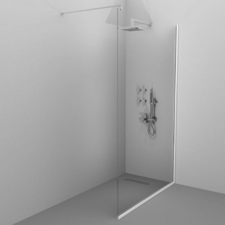 Paravan de duș ALUX ALB - Echipament disponibil: sticla securizata tratata anticalcar; tiranti inox; sifon de pardoseala de tip rigola; se poate accesoriza cu panel de dus sau jeturi si baterii de perete. - Deppo.ro