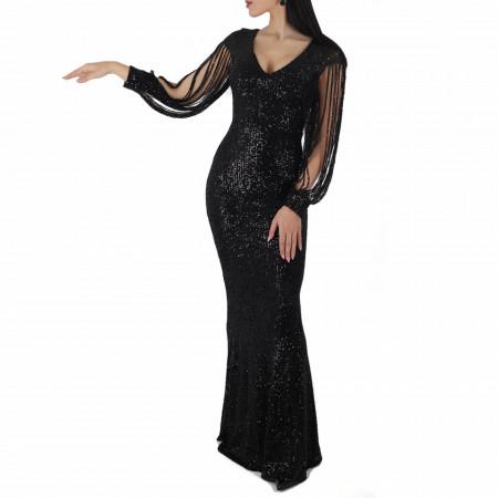 Rochie Aina Neagră - Rochie Chanttal cu paiete, simte-te atrăgătoare purtând această rochie și atrage toate privirile la urmatoarea petrecere. - Deppo.ro