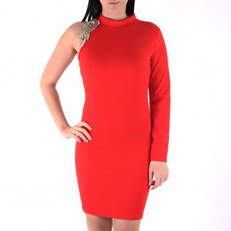 Rochie Arisa - Rochie roşie scurtă cu un design unic ce îţipune-ți silueta în evidență și atrage toate privirile - Deppo.ro